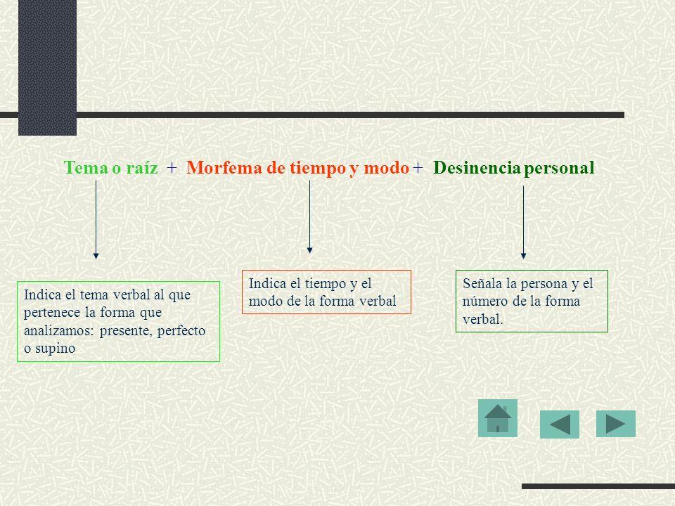 Tema o raíz + Morfema de tiempo y modo + Desinencia personal