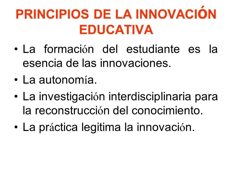 PRINCIPIOS DE LA INNOVACIÓN EDUCATIVA