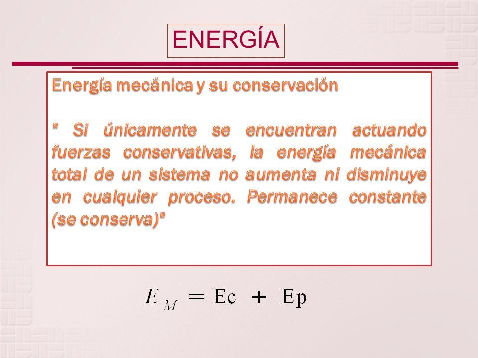 ENERGÍA Energía mecánica y su conservación