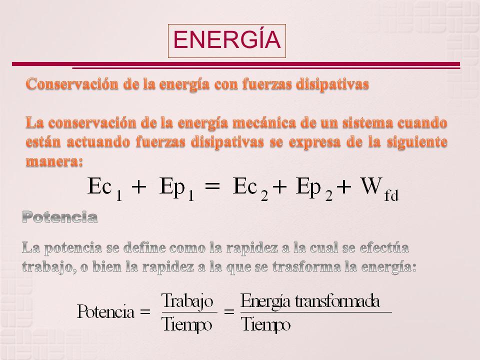 ENERGÍA Conservación de la energía con fuerzas disipativas