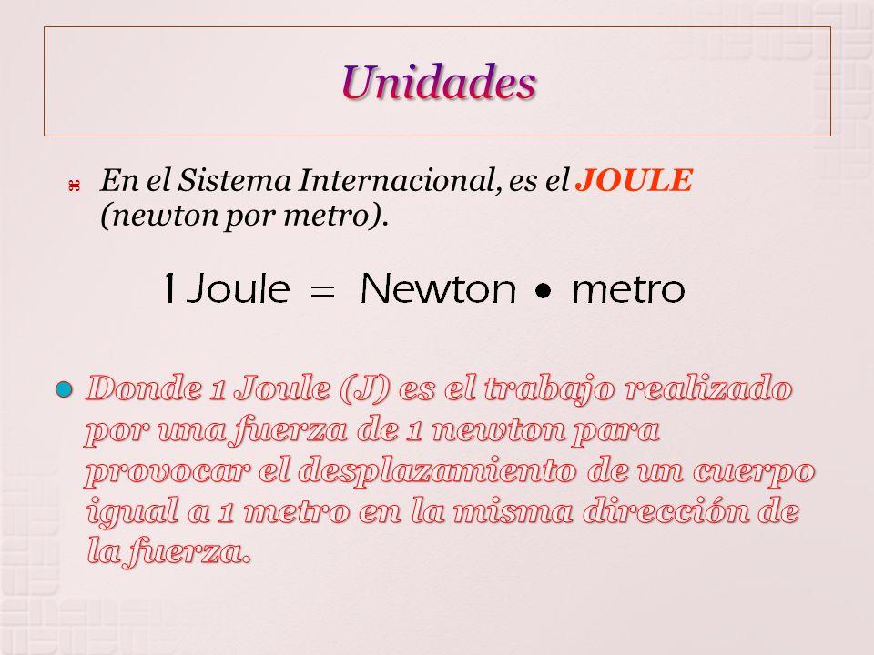 Unidades En el Sistema Internacional, es el JOULE (newton por metro).