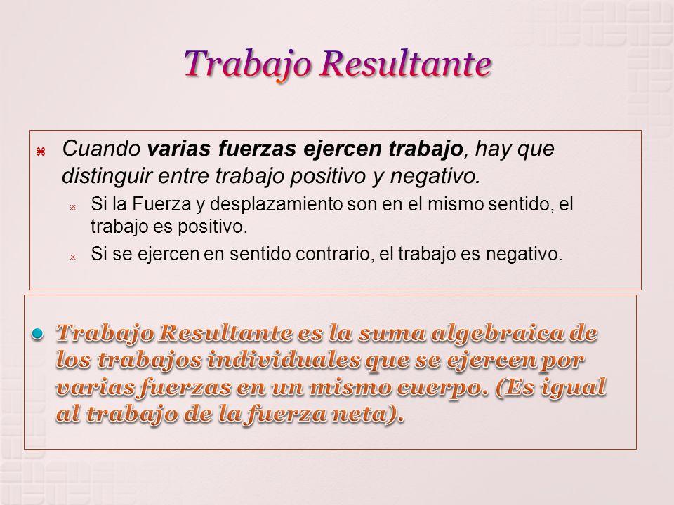 Trabajo Resultante Cuando varias fuerzas ejercen trabajo, hay que distinguir entre trabajo positivo y negativo.