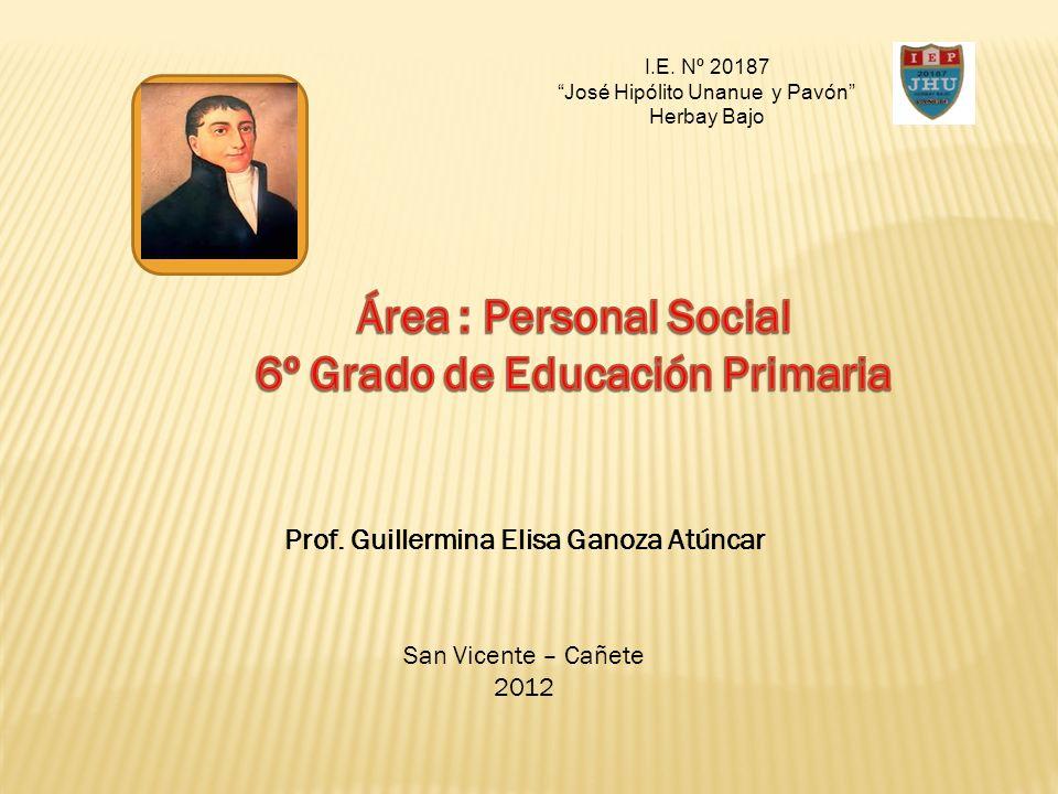 6º Grado de Educación Primaria Prof. Guillermina Elisa Ganoza Atúncar