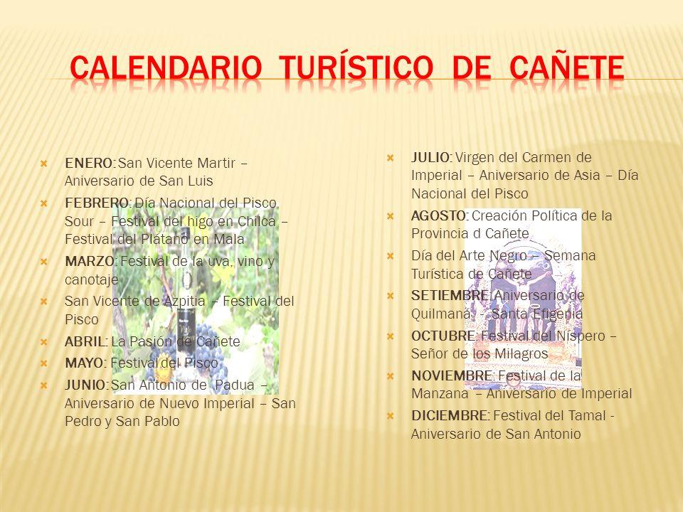 CALENDARIO TURÍSTICO DE CAÑETE