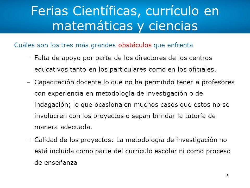 Ferias Científicas, currículo en matemáticas y ciencias