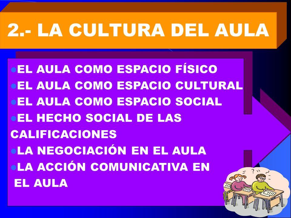 2.- LA CULTURA DEL AULA EL AULA COMO ESPACIO FÍSICO