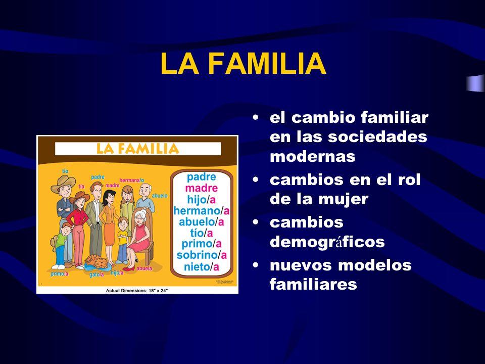LA FAMILIA el cambio familiar en las sociedades modernas