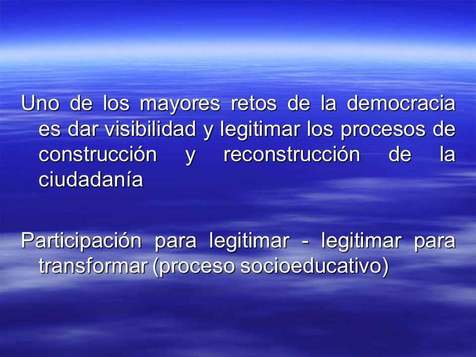 Uno de los mayores retos de la democracia es dar visibilidad y legitimar los procesos de construcción y reconstrucción de la ciudadanía