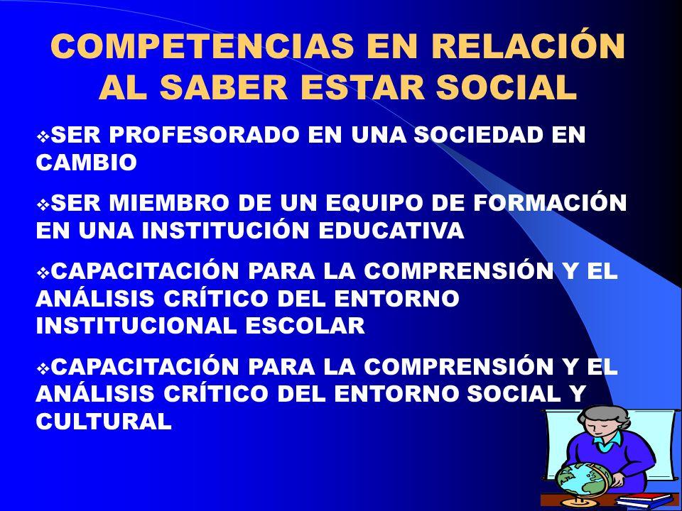COMPETENCIAS EN RELACIÓN AL SABER ESTAR SOCIAL