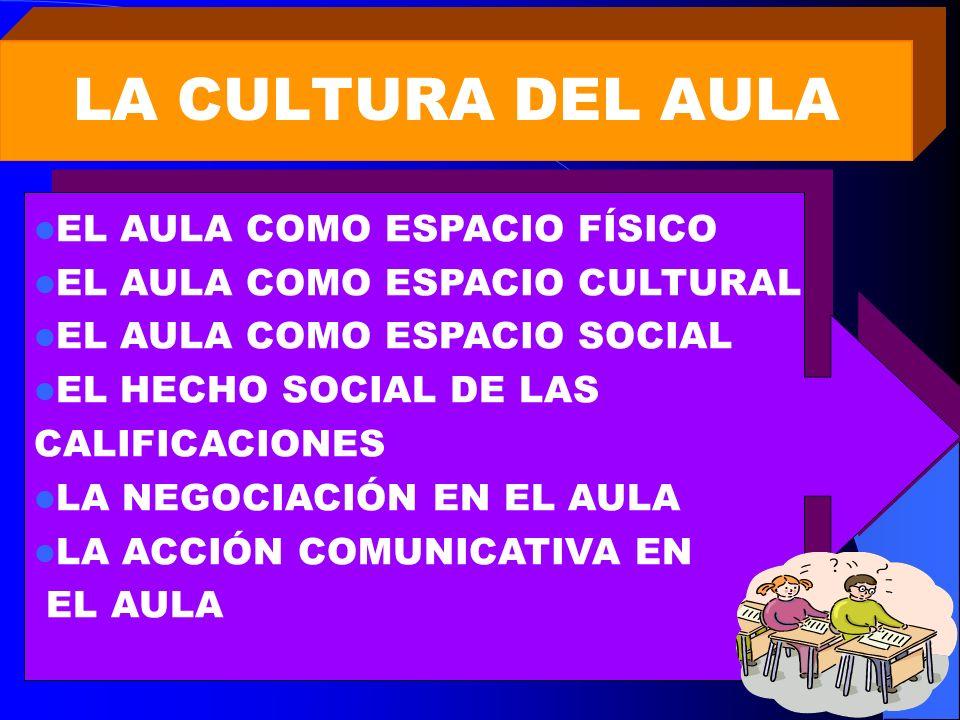 LA CULTURA DEL AULA EL AULA COMO ESPACIO FÍSICO