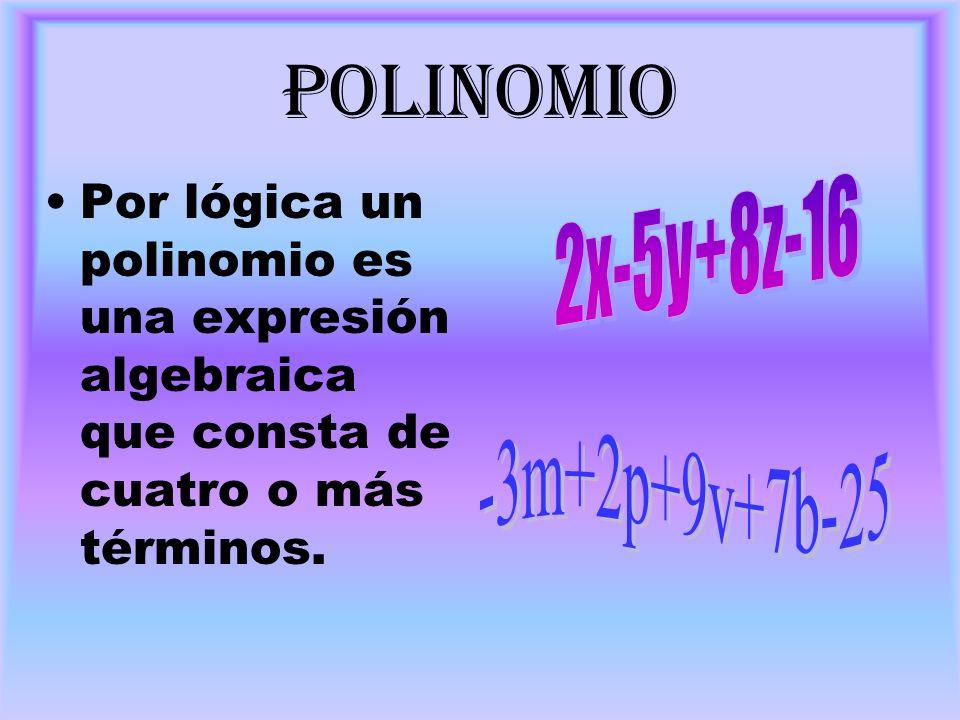 polinomioPor lógica un polinomio es una expresión algebraica que consta de cuatro o más términos. 2x-5y+8z-16.