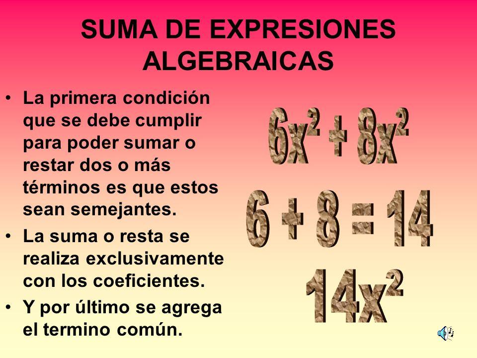 SUMA DE EXPRESIONES ALGEBRAICAS