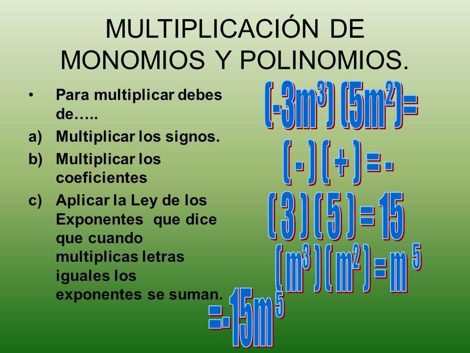 MULTIPLICACIÓN DE MONOMIOS Y POLINOMIOS.