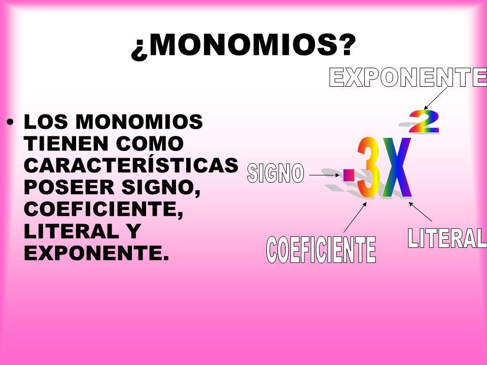 ¿MONOMIOS EXPONENTE 2 -3X