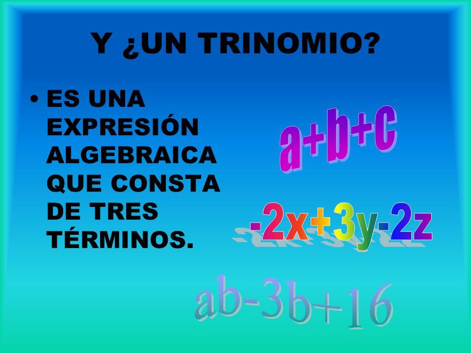 Y ¿UN TRINOMIO ES UNA EXPRESIÓN ALGEBRAICA QUE CONSTA DE TRES TÉRMINOS. a+b+c -2x+3y-2z ab-3b+16