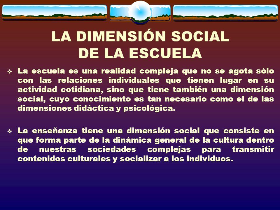 LA DIMENSIÓN SOCIAL DE LA ESCUELA