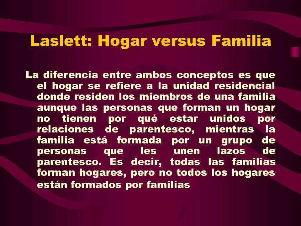 Laslett: Hogar versus Familia