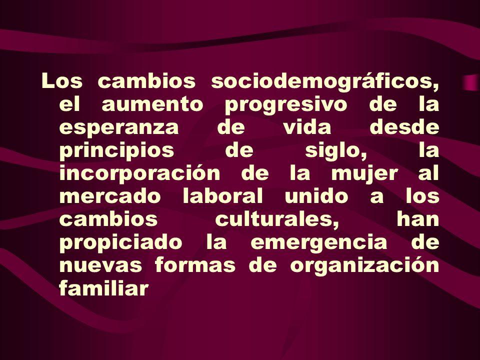Los cambios sociodemográficos, el aumento progresivo de la esperanza de vida desde principios de siglo, la incorporación de la mujer al mercado laboral unido a los cambios culturales, han propiciado la emergencia de nuevas formas de organización familiar