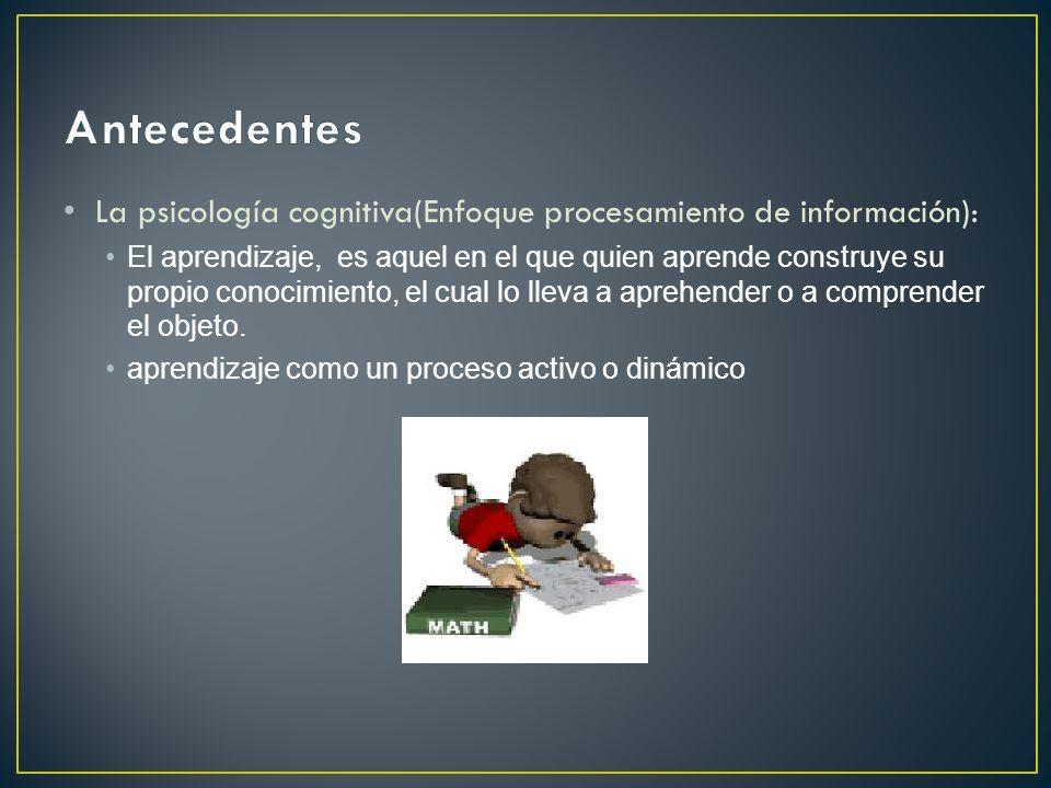 Antecedentes La psicología cognitiva(Enfoque procesamiento de información):