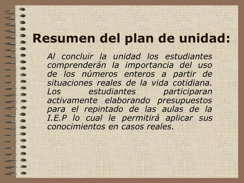 Resumen del plan de unidad: