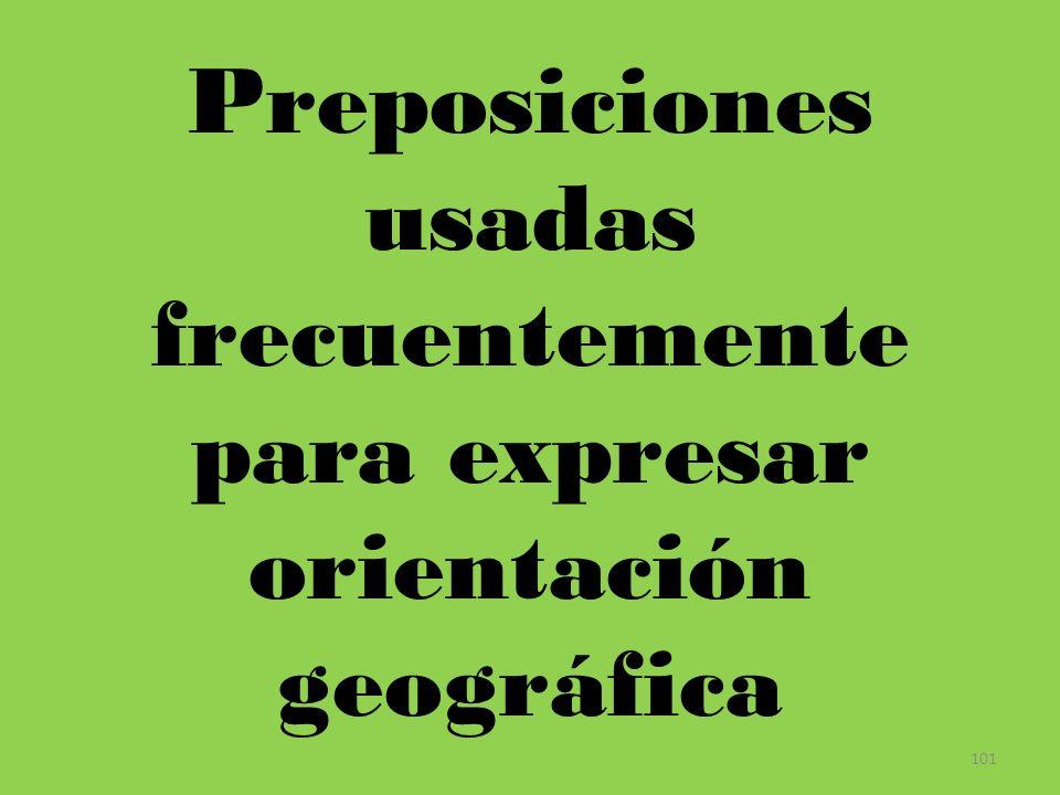 Preposiciones usadas frecuentemente para expresar orientación geográfica