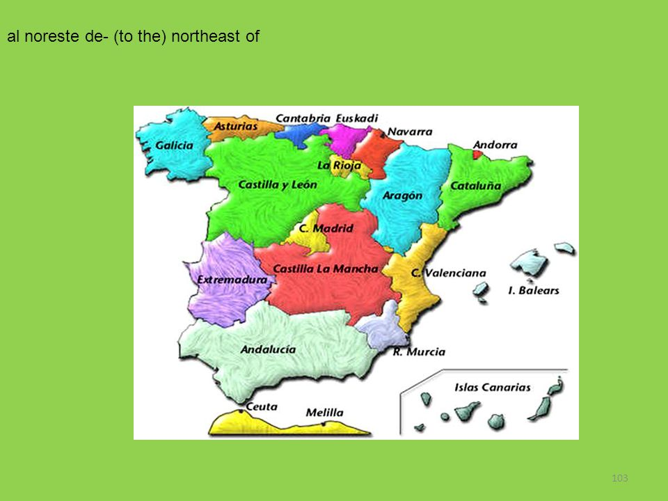 al noreste de- (to the) northeast of