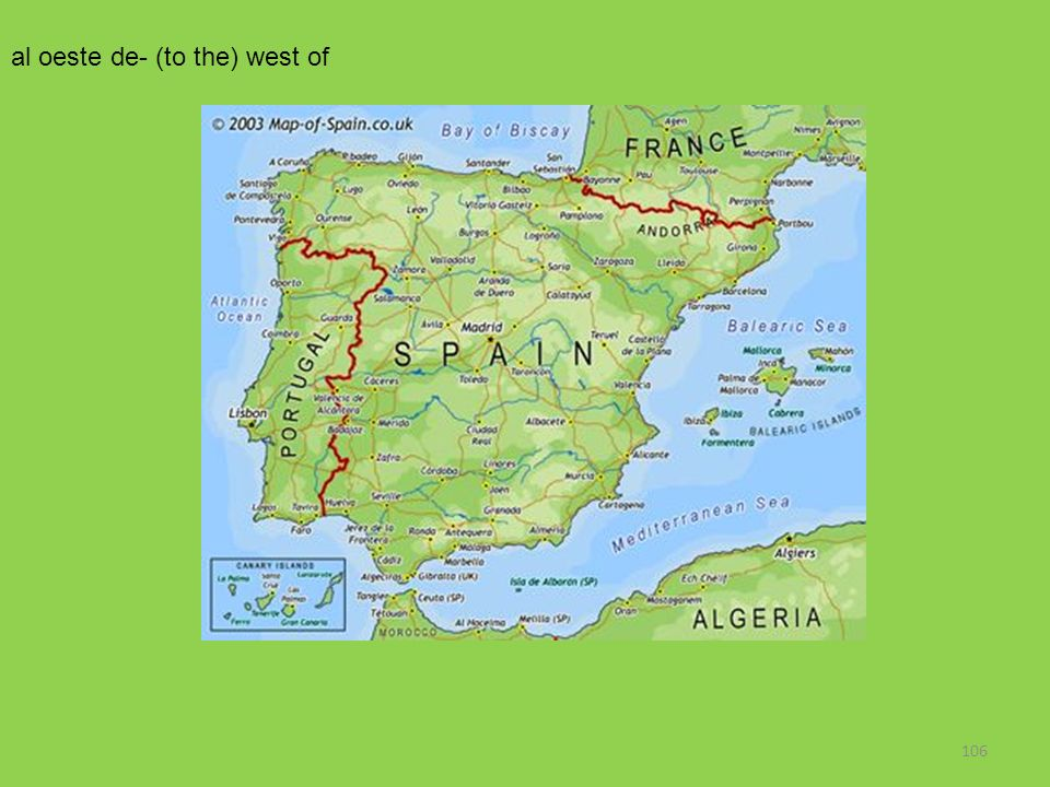 al oeste de- (to the) west of