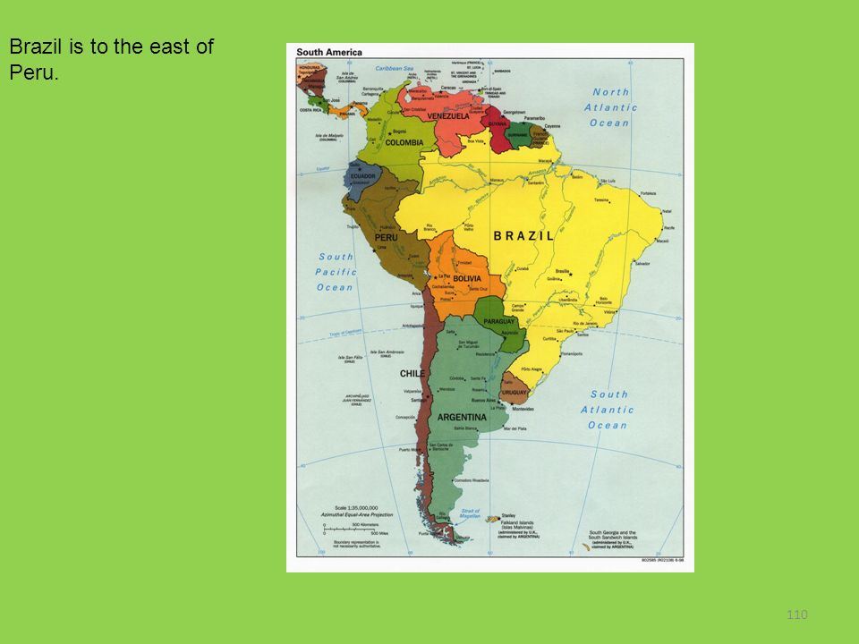 Brazil is to the east of Peru.