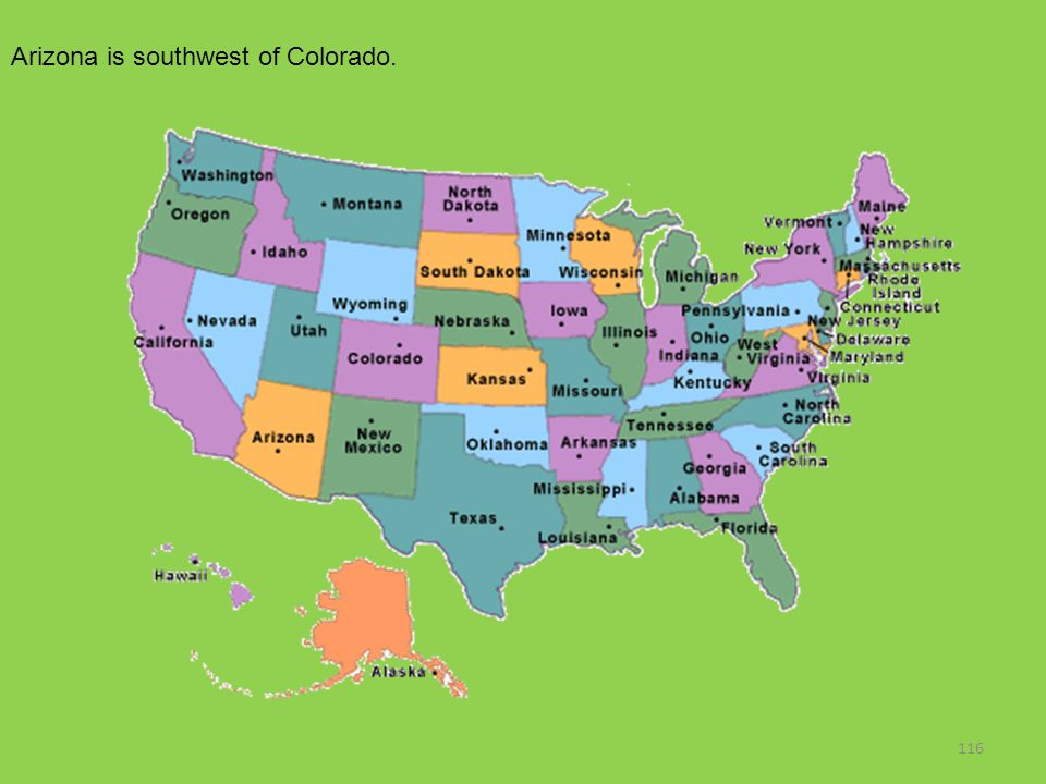 Arizona is southwest of Colorado.
