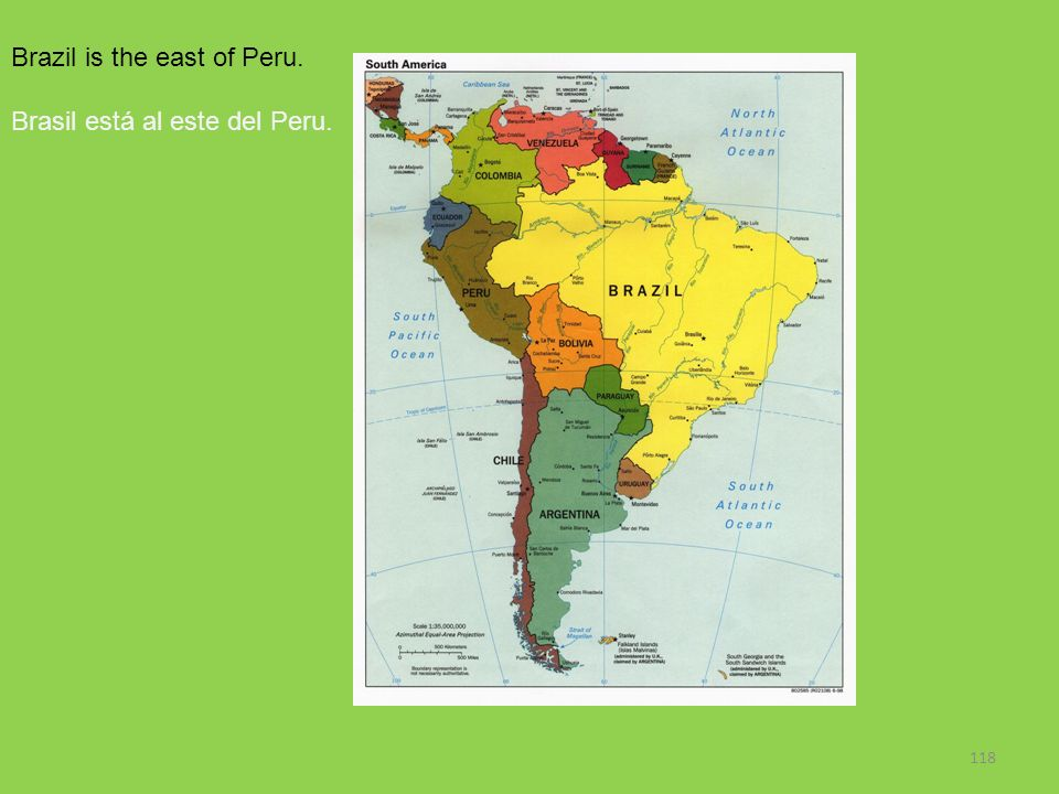 Brazil is the east of Peru.