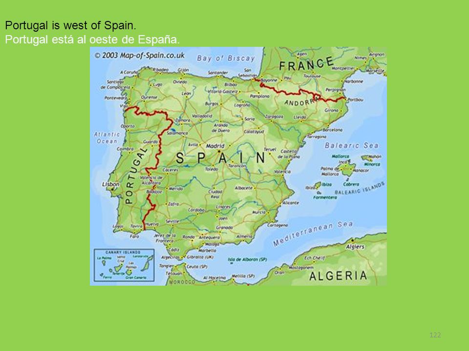 Portugal is west of Spain.