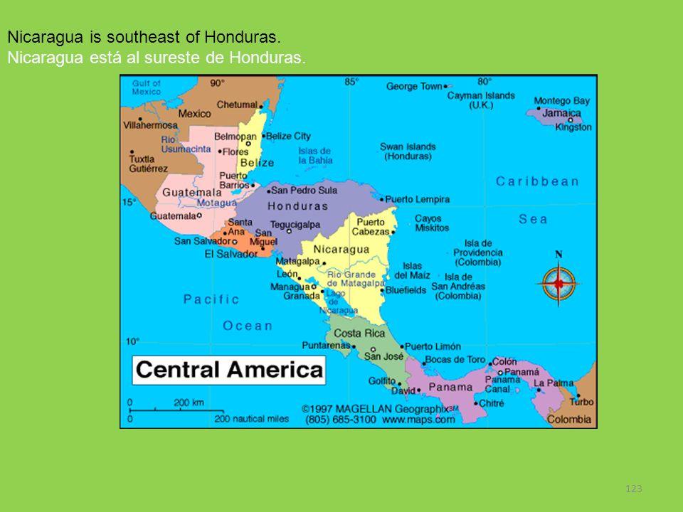 Nicaragua is southeast of Honduras.