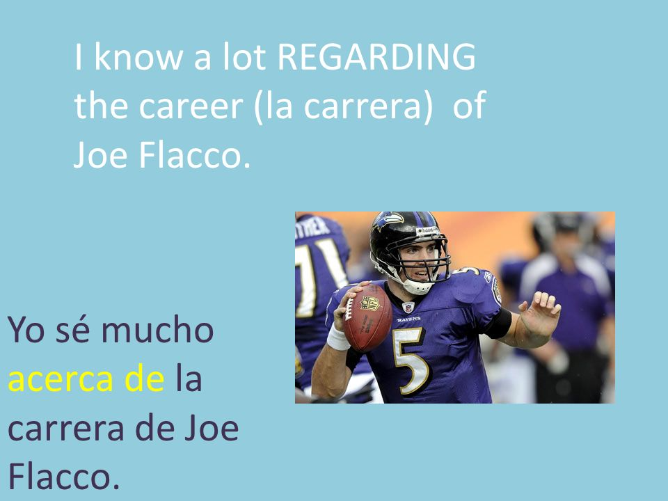 I know a lot REGARDING the career (la carrera) of Joe Flacco.