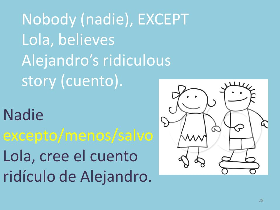 Nobody (nadie), EXCEPT Lola, believes Alejandro's ridiculous story (cuento).