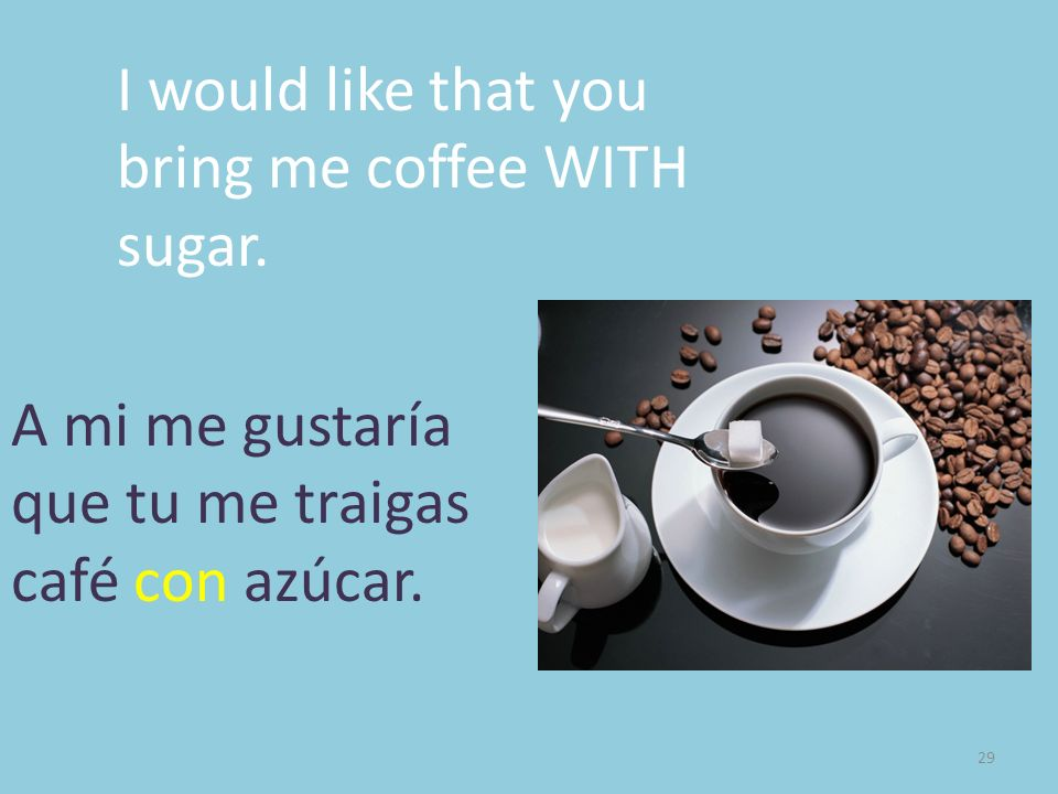 I would like that you bring me coffee WITH sugar.