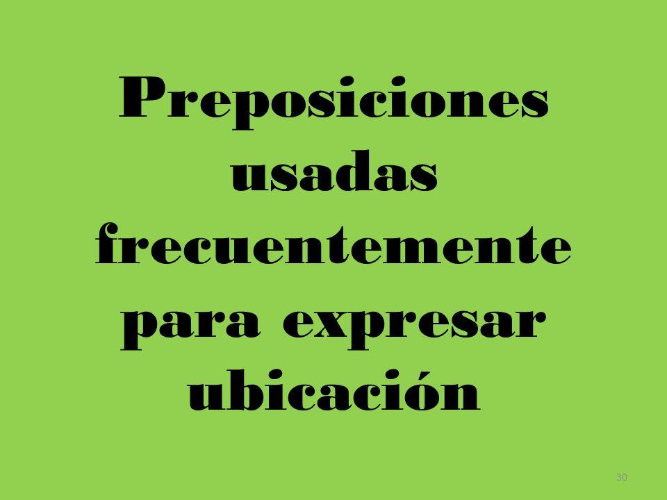 Preposiciones usadas frecuentemente para expresar ubicación