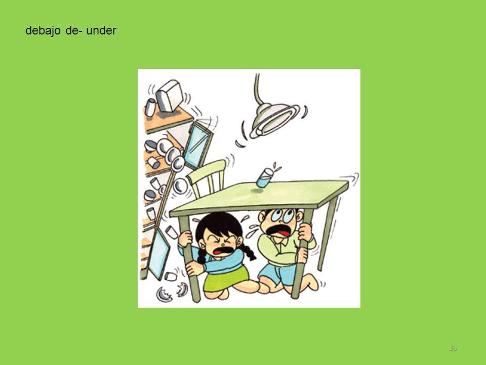 debajo de- under