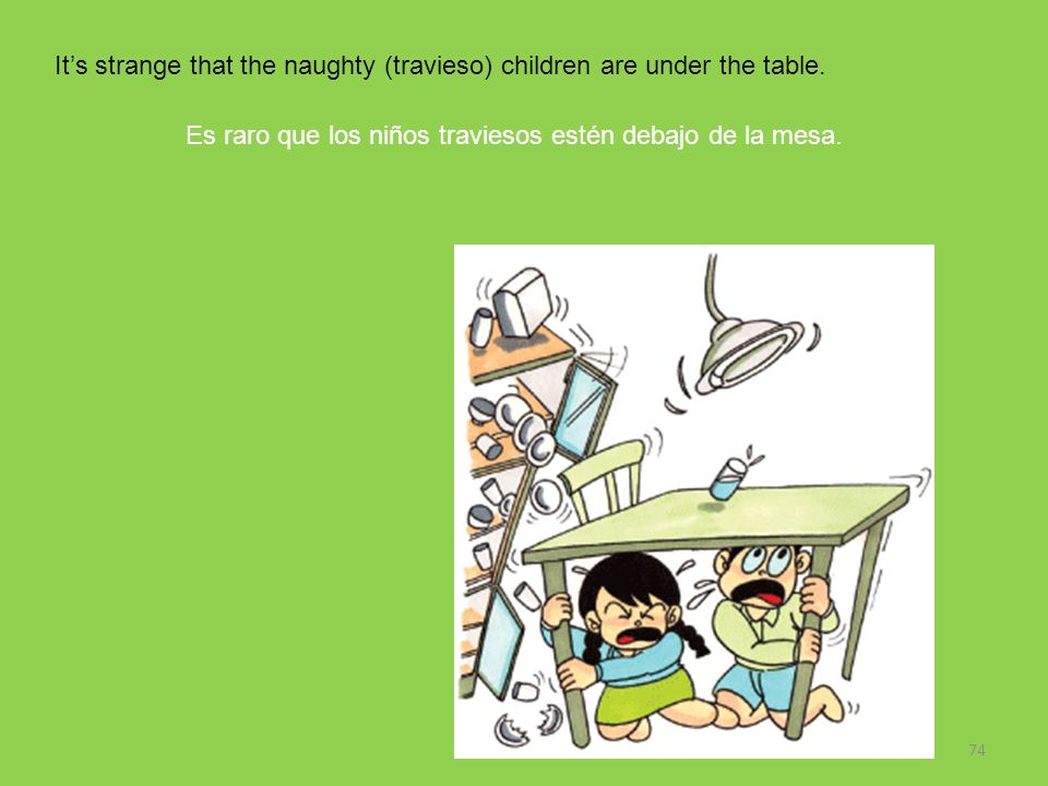 It's strange that the naughty (travieso) children are under the table.