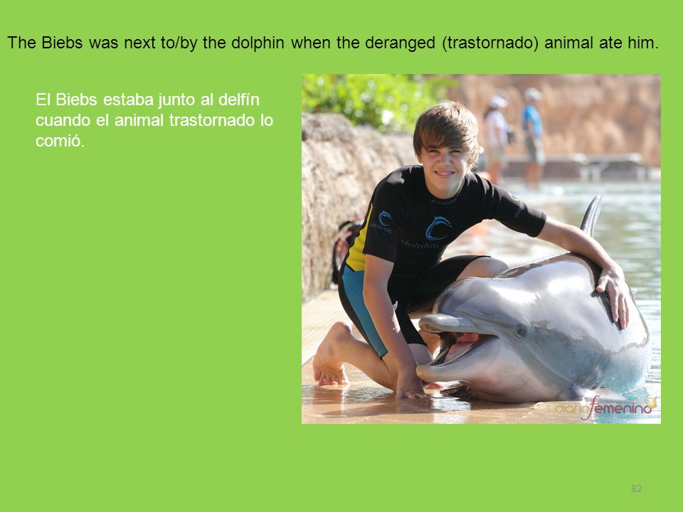 The Biebs was next to/by the dolphin when the deranged (trastornado) animal ate him.