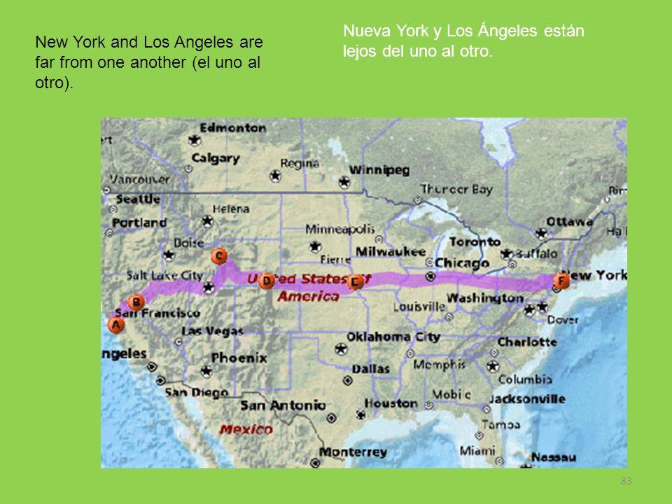 Nueva York y Los Ángeles están lejos del uno al otro.