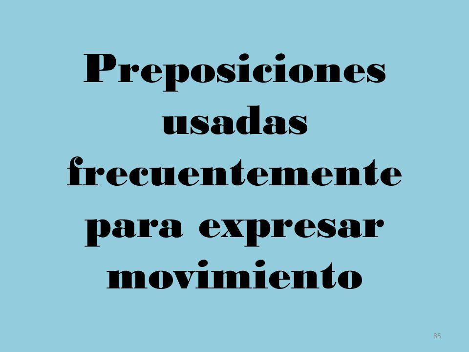 Preposiciones usadas frecuentemente para expresar movimiento