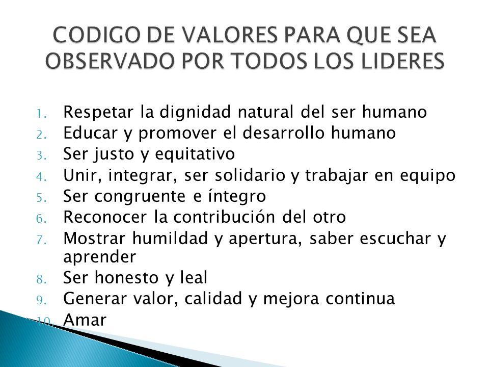 CODIGO DE VALORES PARA QUE SEA OBSERVADO POR TODOS LOS LIDERES
