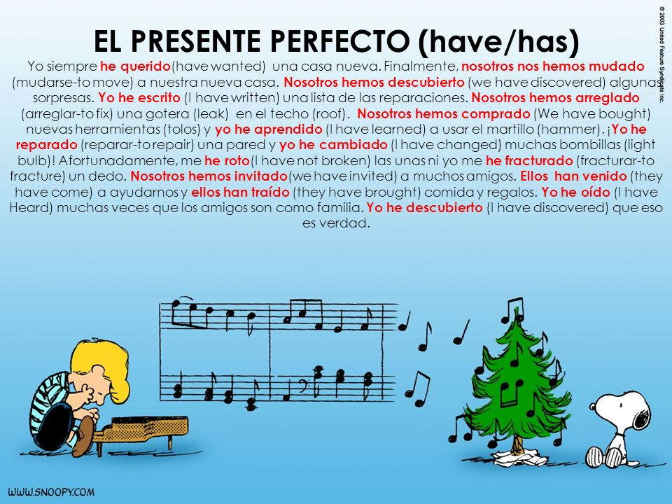 EL PRESENTE PERFECTO (have/has)