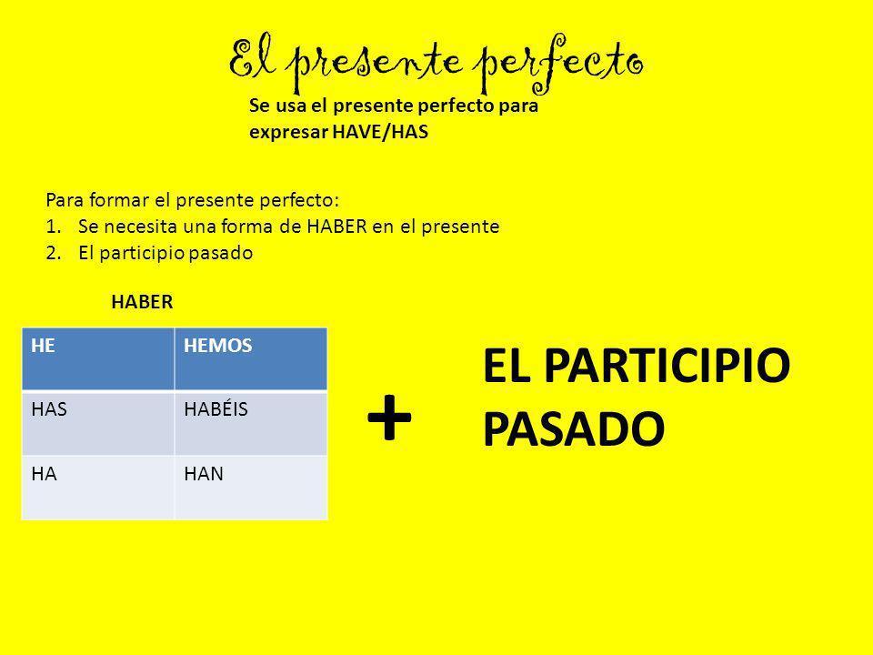 + El presente perfecto EL PARTICIPIO PASADO