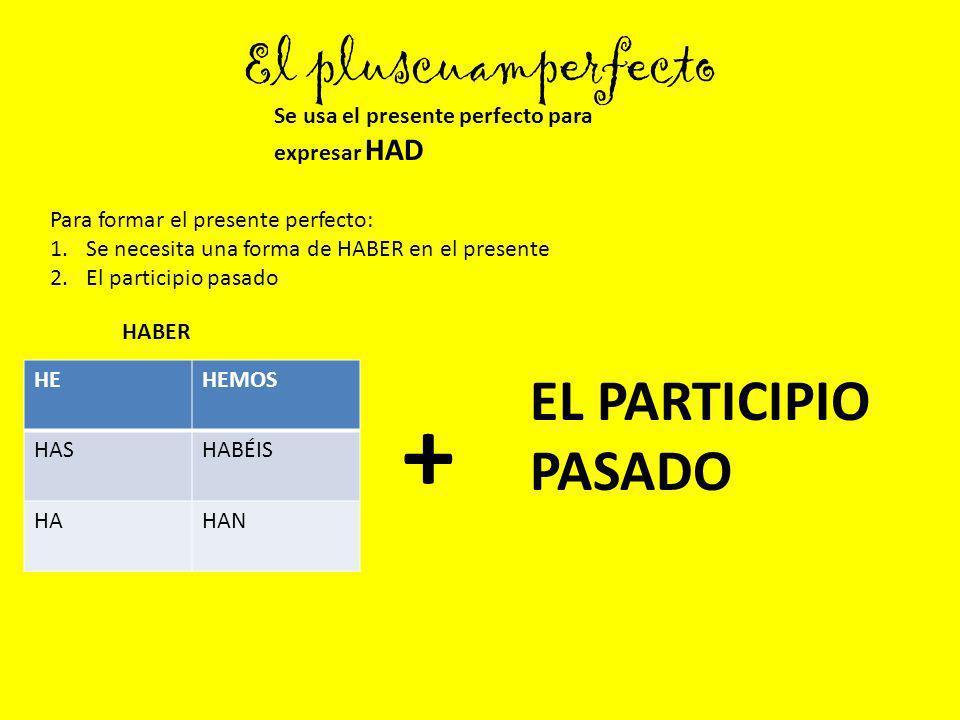 + El pluscuamperfecto EL PARTICIPIO PASADO