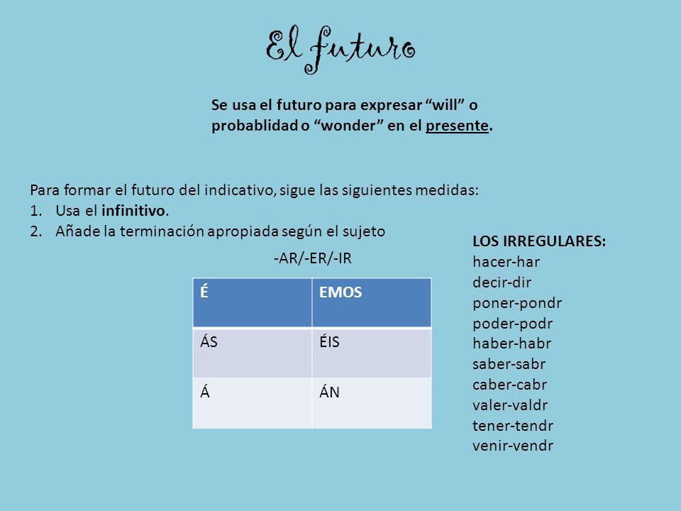 El futuro Se usa el futuro para expresar will o probablidad o wonder en el presente.