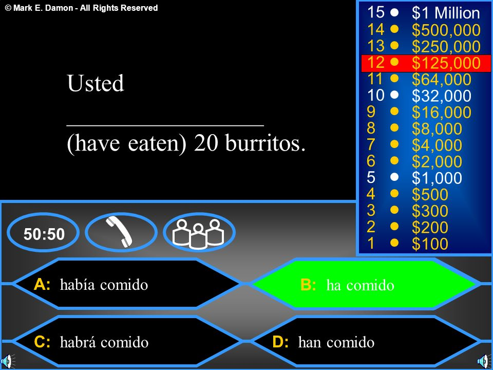 Usted ________________ (have eaten) 20 burritos.