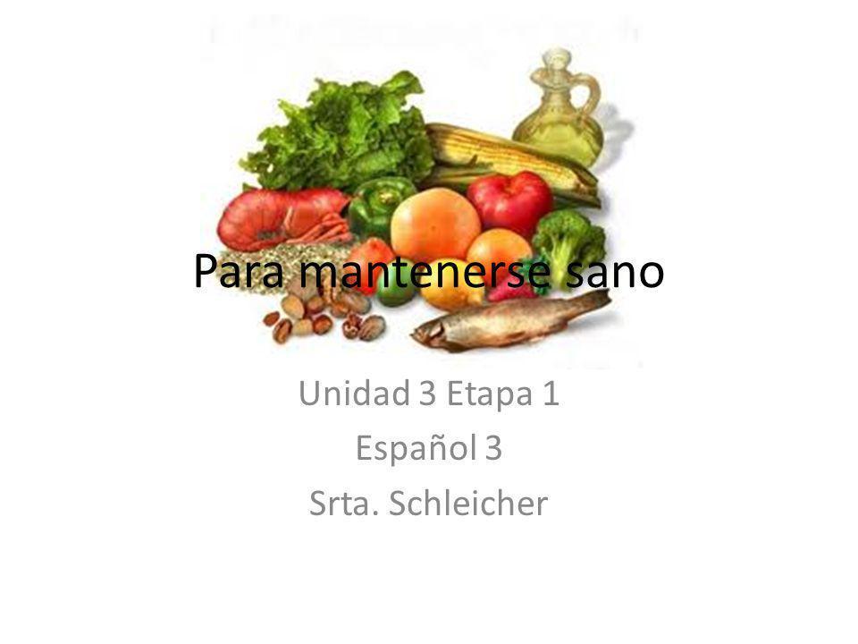 Unidad 3 Etapa 1 Español 3 Srta. Schleicher