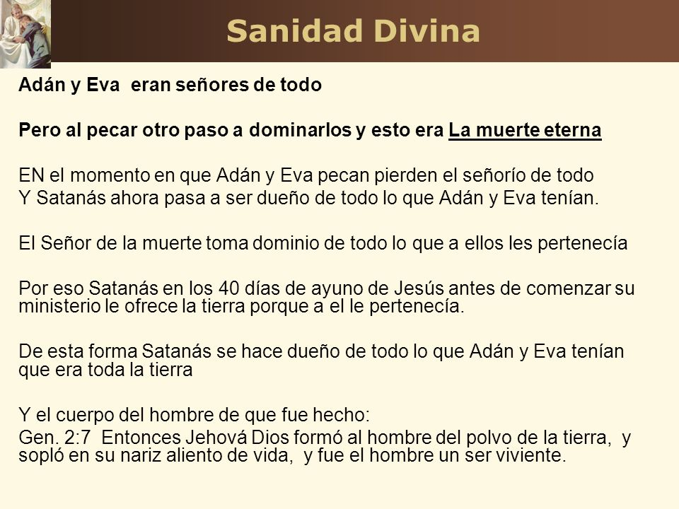 Sanidad Divina Adán y Eva eran señores de todo