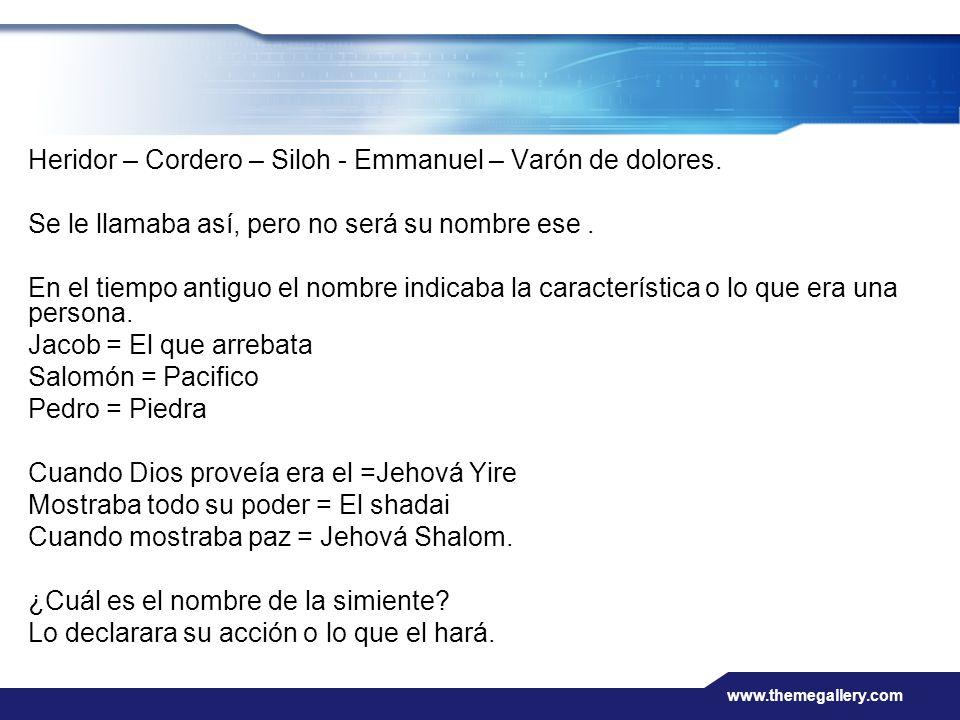 Heridor – Cordero – Siloh - Emmanuel – Varón de dolores.